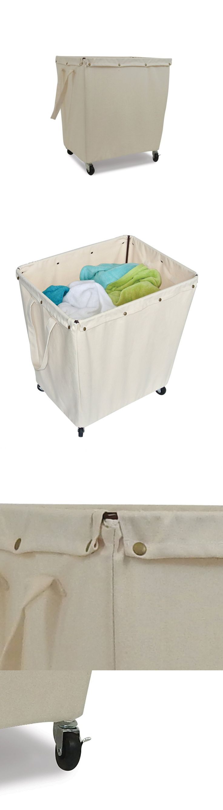 White tilt out clothes storage basket bin bathroom drawer ebay - Hampers 43517 Commercial Laundry Hamper With Wheels Canvas Bin Bag Storage Industrial Buy