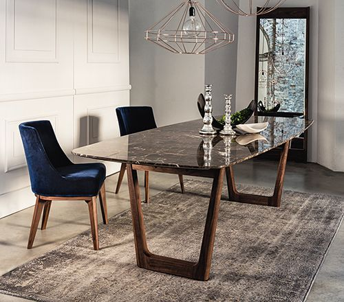 Dining table with emperador marble top and walnut base.