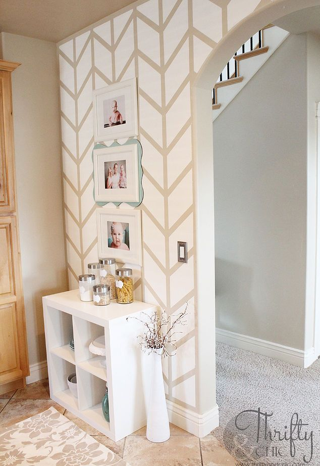 herringbone pattern painted on accent walls