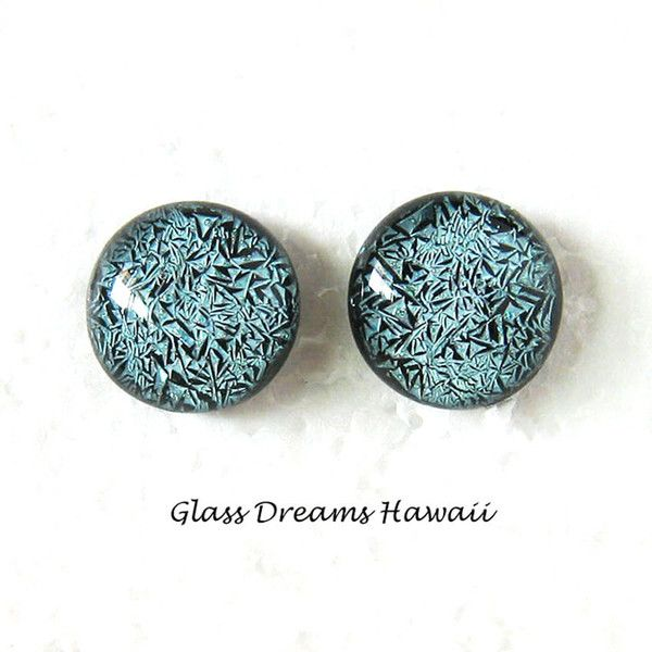 Slate Blue Glass Stud Earrings, Fused Glass Jewelry, Dichroic Glass... ($20) ❤ liked on Polyvore featuring jewelry, earrings, blue stud earrings, blue glass earrings, blue glass jewelry, blue earrings and earring jewelry