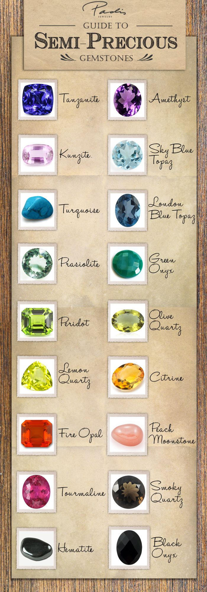 A handful of the semi-precious gemstones that we carry, set in fashion jewelry, at our stores.