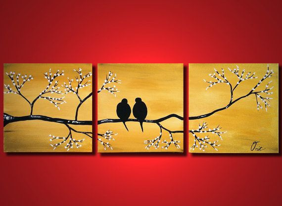 Large Painting Gold Love Birds, ORIGINAL Bedroom Wall Art,Tree Painting  With Flowers,