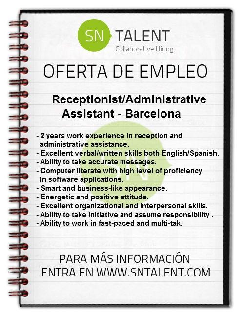 #Receptionist/Administrative #Assistant en #Barcelona