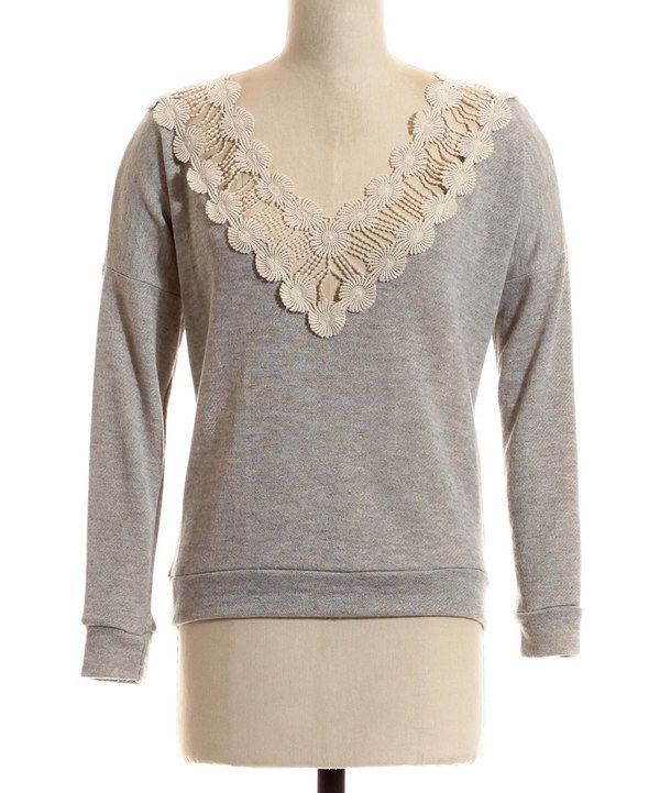Look what I found on #zulily! Heather Gray Crocheted V-Neck Pullover - Women by Coveted Clothing #zulilyfinds