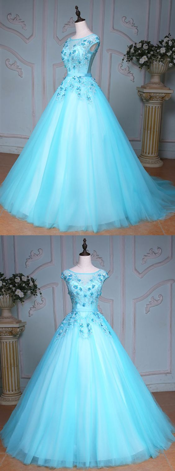 Blue Tulle Scoop Neck Long Winter Formal Prom Dress, Long Beaded Evening Dresses For Teens, Evening Dress,Cheap Evening Dress,Custom Made,Party Gown 1
