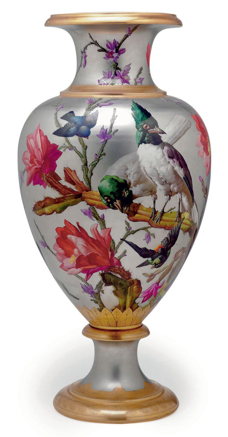 c1880 A LARGE FRENCH PORCELAIN PLATINUM-GROUND VASE  CIRCA 1880, ILLEGIBLE IRON-RED INSCRIPTION, BLACK PAI… | Porcelain painting, Antique porcelain dolls, Porcelain