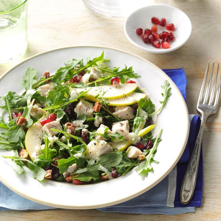 Turkey Salad with Pear Dressing Recipe -This salad is perfect for using up leftover turkey, chicken or deli meat. Anjou pears are such a great winter fruit.—Nancy Heishman, Las Vegas, Nevada