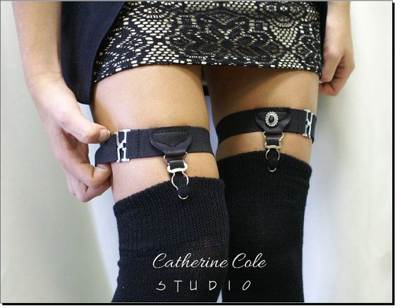 Garters womens steampunk garters leg garters gothic sexy menswear Garters Single Grip sock garters VINTAGE VIBE Catherine Cole Studio G1. 19e