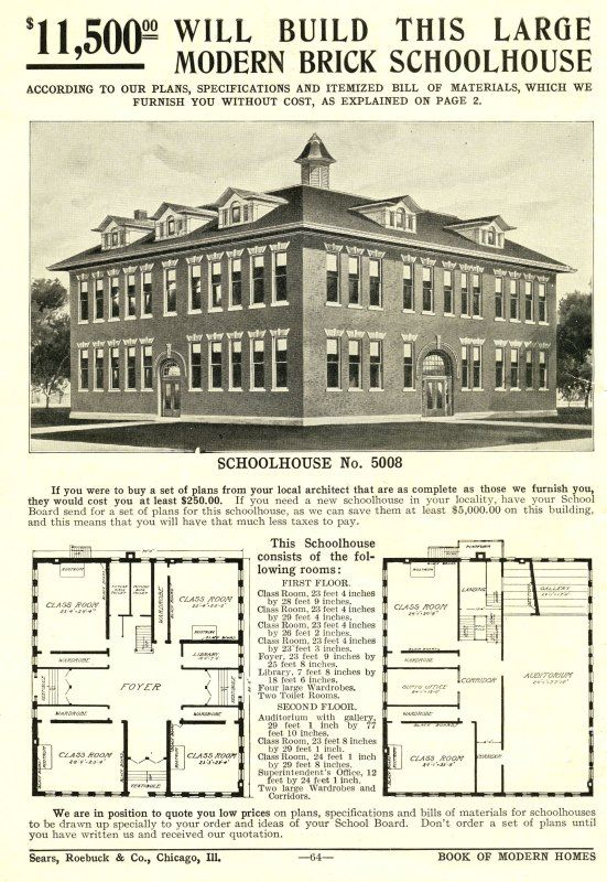 Loving the school house! The very first Sears Modern Homes catalog was issued in 1908, and within its pages, Schoolhouse Number 5008 was offered for $11,800.