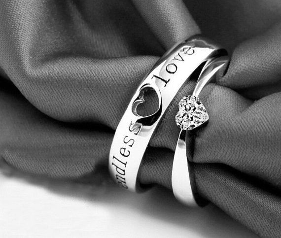 2pcs His & Her Matching Wedding, Engagement, Promise Couple Ring Set (comes w/ beautiful red heart shaped velvet box)