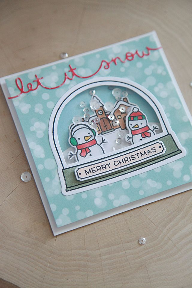 LF Ready, Set, Snow--it's coordinating dies and Shaker Add-on, Let's Bokeh in the Snow petite paper pack.