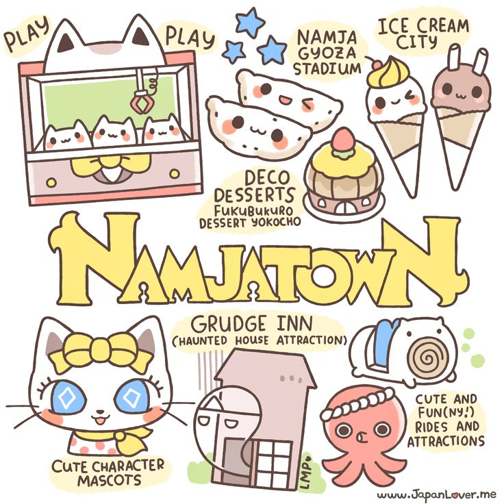 """""""Namco Namja Town is an indoor theme park in the Sunshine City shopping complex in east Ikebukuro, Toshima, Tokyo, Japan."""" Namja Town is one of the most must-visit Japanese theme parks in our list! (=ↀωↀ=)✧ Lots of cute and fun stuff to do, play with, take photos of, and eat! Art by Little Miss Paintbrush"""