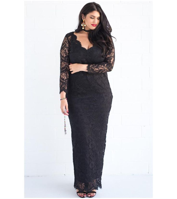 V Neck Scalloped Lace Gown - Lala Belle The Label Women's Plus Size Dresses & Clothing Australia