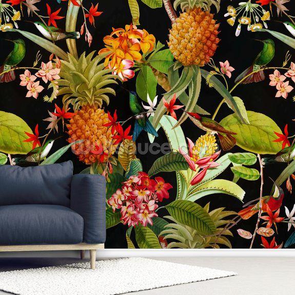 Tropical Pineapples Wallpaper Wallsauce Nz Pineapple Wallpaper Mural Wallpaper Oriental Wallpaper