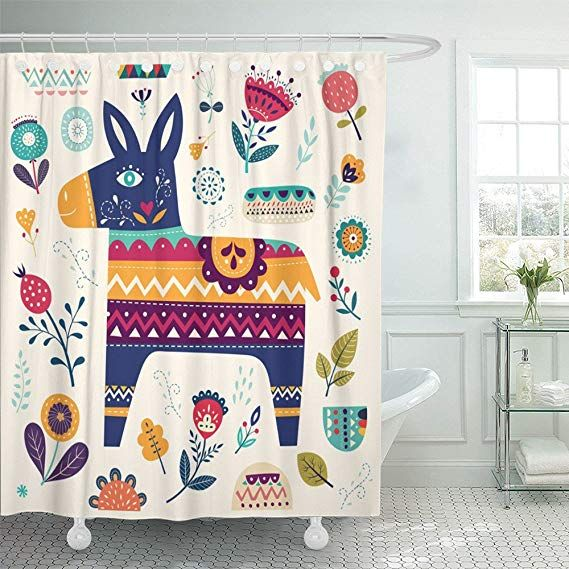 Amazon Com Emvency Shower Curtain Waterproof Colorful Cute