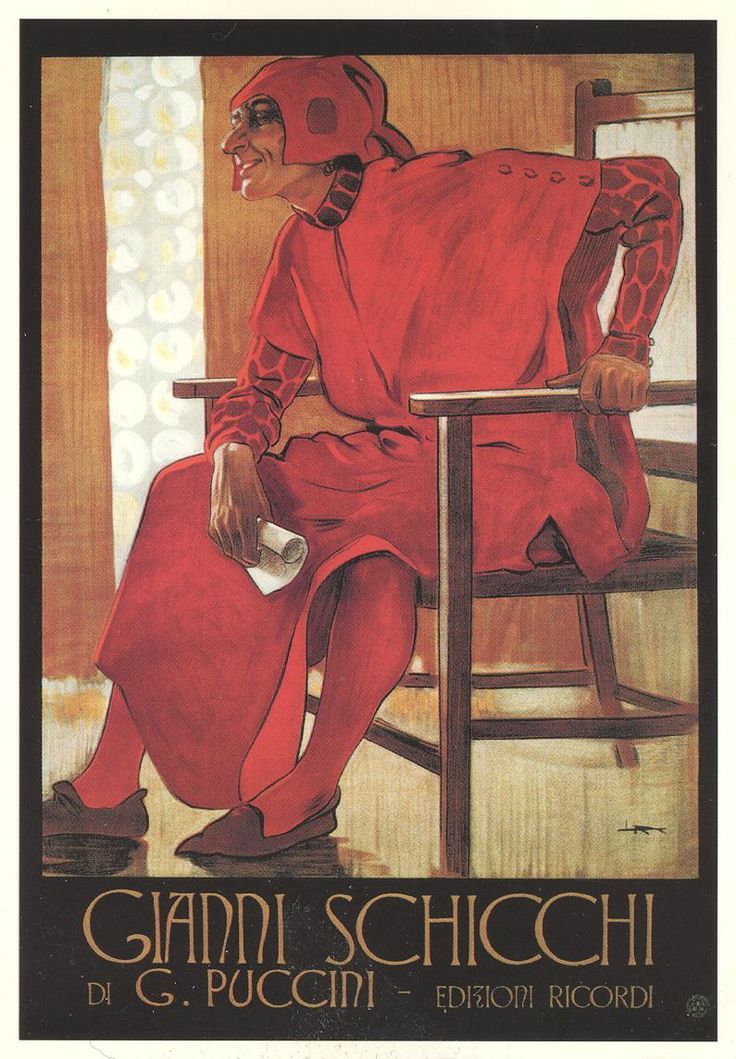 Poster advertising Puccini's opera Gianni Schicchi, published by G. Ricordi, Milan, in 1918-19