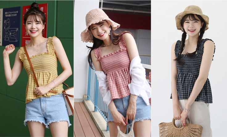 Shirred Tartan Empire Waist Sleeveless Top | Most LOVED Korean fashion shopping mall 66girls:)