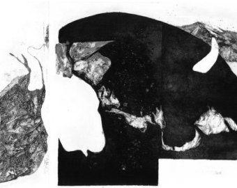 """series of etchings """"Panorama Pana Jacyka"""". Seria grafik wykonana w technice wklęsłodruku, która w całości tworzy panoramę. Są to ilustracje do autorskiego opowiadania inspirowanego Pinokiem."""