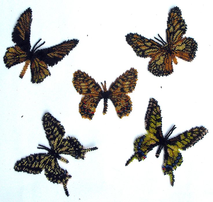 5 Gold and Black Beaded Butterflies Pattern | Bead-Patterns.com