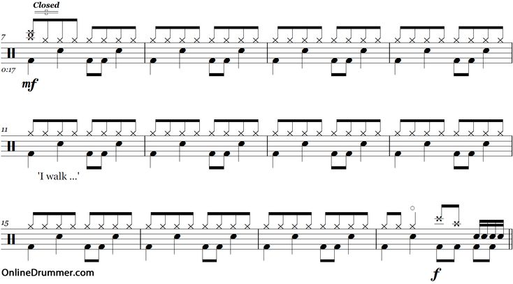 Boulevard of Broken Dreams – Green Day – Drum Sheet Music | OnlineDrummer.com