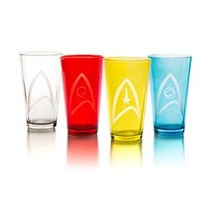 These Star Trek Uniform Insignia Pint Glasses come as a set of four, which makes them a great housewarming gift for any Trek fan on your list, especially since they're four colors so they go with your kitchen, no matter how it's decorated.