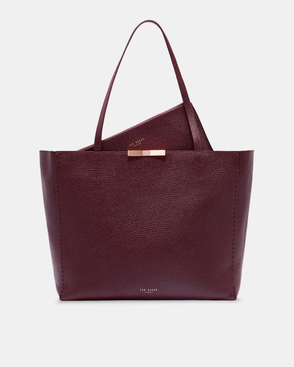 e74ad75d1d Bow detail leather shopper bag