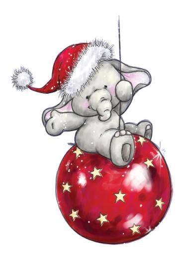 Adorable illustration of a little elephant on a red Christmas ornament.