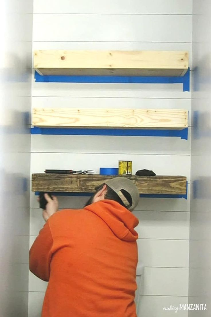 Learn how to build these farmhouse style floating bathroom shelves above the toi…   – Home Decorating Tips