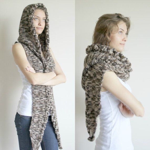 Brown Wilds Safari Wool Hooded Cabled Long Scarf by denizgunes