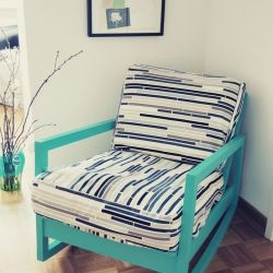 An old boring rocking chair turned into a favorite place in the house. great idea