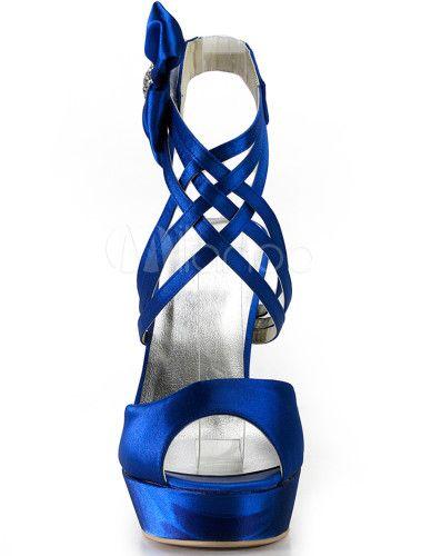Scarpe da sera per sposa con plateau in seta e raso blu royal - Milanoo.com