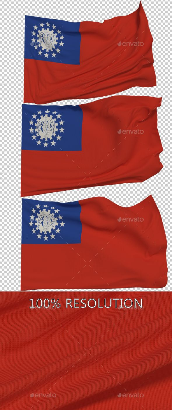 Hello Everyone. This is my new Flag of Myanmar. Hope you find it useful! 3 PNG images with Alpha and 3 copy in low resolution Res