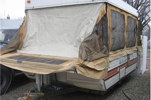 How to to patch canvas tent trailer using canvas patch, adhesive, sewing, and waterproof spray.
