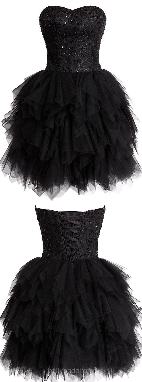 Black Homecoming Dresses,Short Cocktail Dresses,Tulle Sweetheart Party Gowns,Lace and Tiered Prom Dresses,Fashionable Girls Club Dress