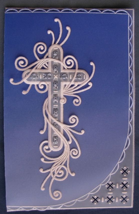 My own design and creation for a sympathy card, published in Pergamano M83.