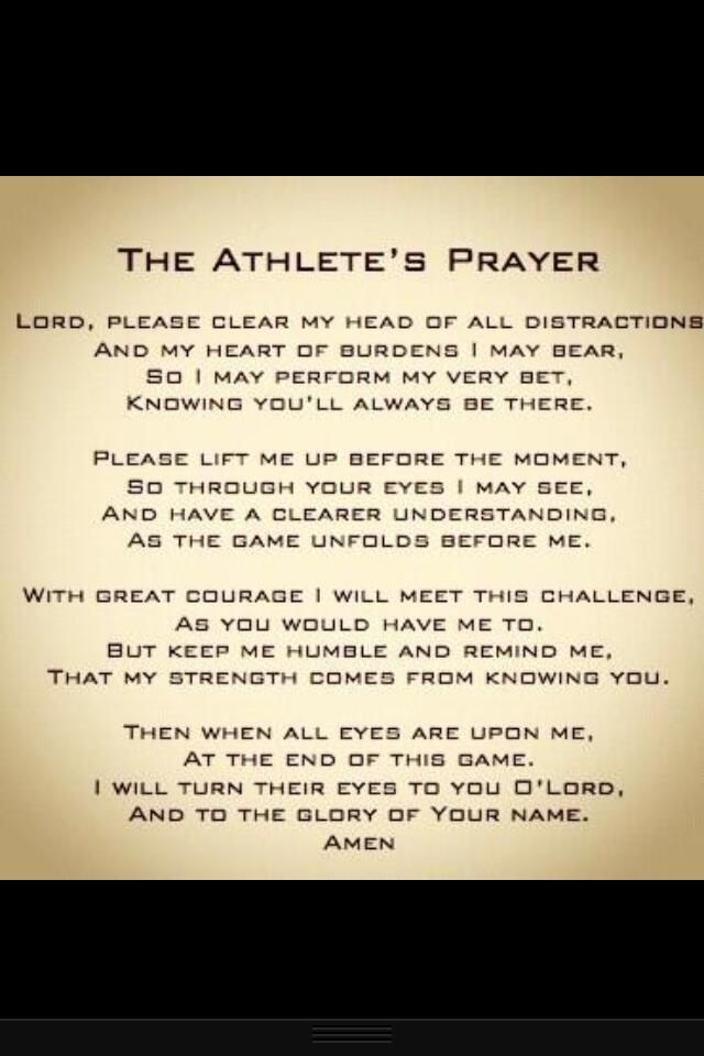 The Athlete's Prayer...will definitely teach my children this!!!!