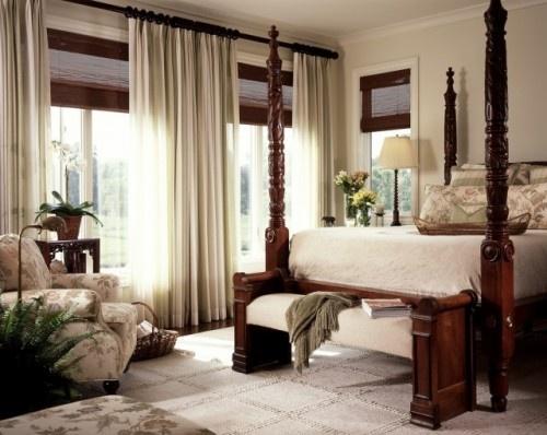 traditional bedroom - whites, dark wood & window treatment inspiration
