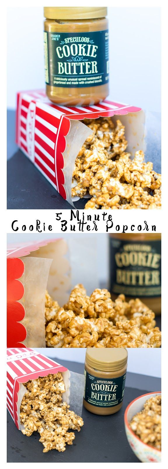 Amazing 5 minute Cookie Butter Popcorn Recipe! Your friends will think it's a gourmet recipe. Features Speculoos Cookie Butter from Trader Joe's. #recipe #popcorn #snack #cookiebutter