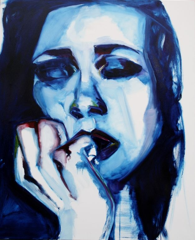 "Saatchi Online Artist: Patricia Derks; Oil, 2013, Painting ""Otherwise blue"""