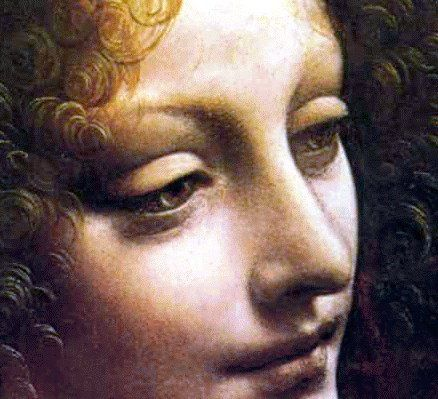 Leonardo da Vinci, The (second) Virgin of the Rocks, detail of the angel, 1508.