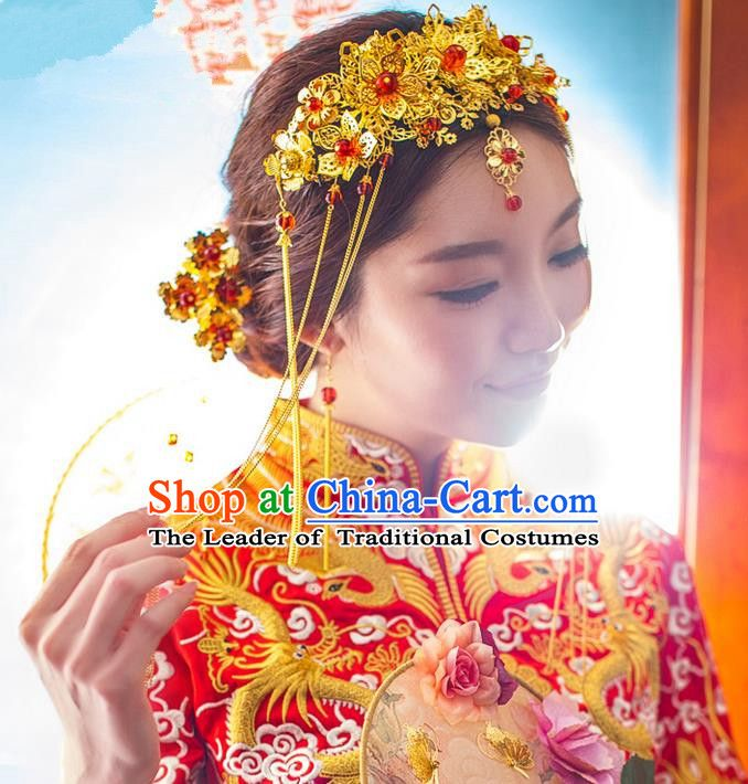Traditional Chinese Wedding Xiuhe Suit Hair Accessories Hair Comb, Cnina Style Phoenix Coronet Tassel Step Shake, Ancient Chinese Bride Hairpins Head Ornament for Women