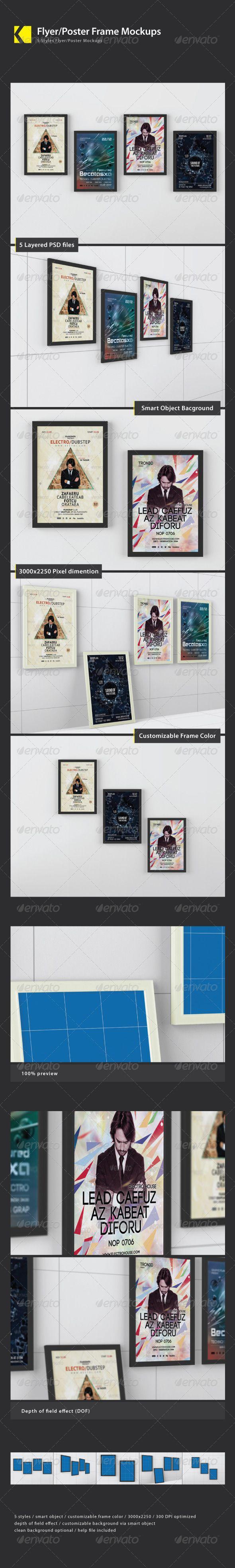 Flyer/Poster Frame Mockups — Photoshop PSD #background #mock-ups • Available here → https://graphicriver.net/item/flyerposter-frame-mockups/4721864?ref=pxcr