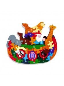 Noah's Ark Alphabet: Handcrafted Traditional Wooden Puzzle from Alphabet Jigsaws