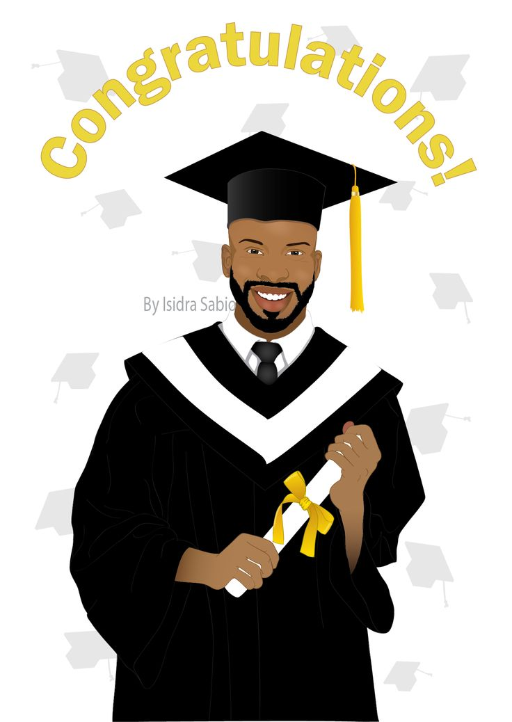 Afrocentric Card Available NOW - Afrocentric graduation card for men: 	Congratulations on your graduation greeting afrocentric card shows an gorgeous, baldheaded, happy, and proud black (African American) man on graduation day wearing graduation cap and gown. He is holding his diploma with both hands. Original illustration by Isidra Sabio