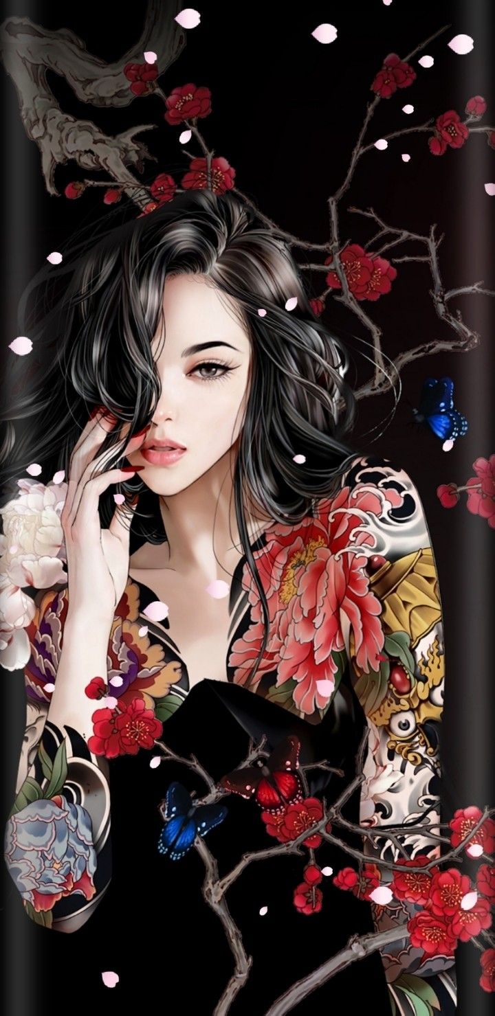 Wallpaper Lockscreen Iphone Android Yakuza Girl Fantasy Art Women Girly Art