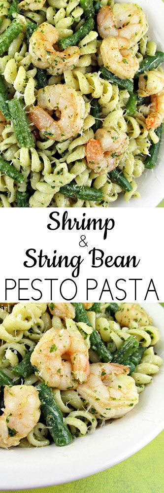 Shrimp and String Bean Pesto Pasta - would sub broccoli or asparagus for green beans