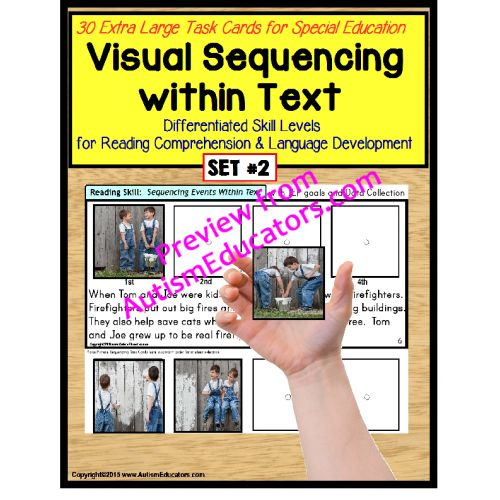 Sequencing Events with Pictures & Text Task Cards Autism/Special Education SET 2 Brand new!  On sale from 3/16 -3/31/15! BY POPULAR REQUEST!