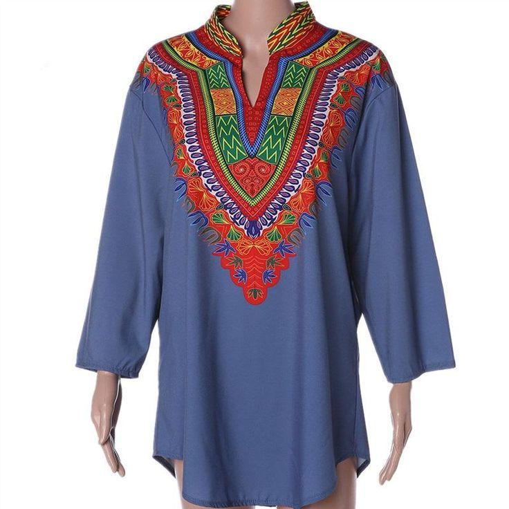 Light Blue Traditional Print African Dashiki Shirt