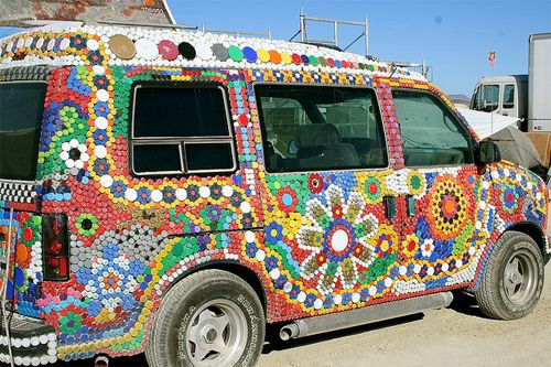 Bottle cap van. Photo by Tracy Madaj.