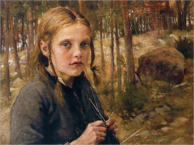 Girl Knitting Socks, 1886 - Albert Edelfelt